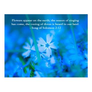 Blumen erscheinen auf der Erde; die Jahreszeit des Postkarte