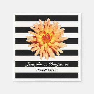 Blumen-Foto auf Wedding den Schwarzweiss-Streifen Papierserviette