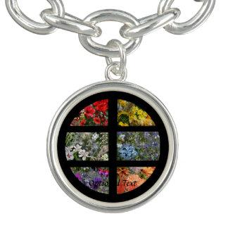 Blumen-Foto-Collage im schwarzen Rahmen Armband
