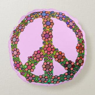 Blumen-Friedenszeichen-Symbol Rundes Kissen