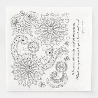 Blumen-Garten-Galaxie-weißes Standardabendessen Serviette