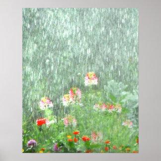 Blumen-Garten im Regen-Plakat Poster