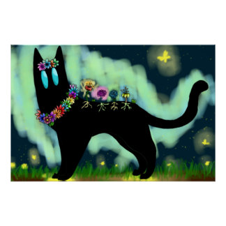 Blumen-Geist-katzenartiges Plakat