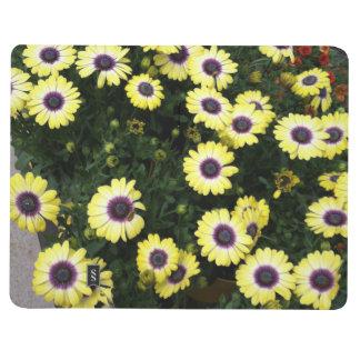 Blumen-gelbes Lila Taschennotizbuch