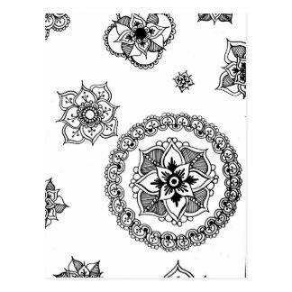 Blumen-GemischMandala Postkarte