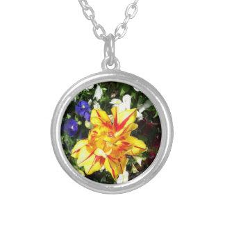 Blumen-Halskette Versilberte Kette