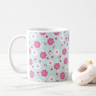 Blumen-Herz-Rosa des Valentines Tages Kaffeetasse