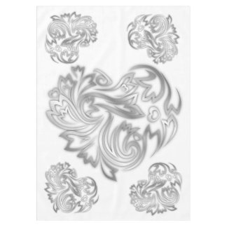 Blumen-Herz-Silber-Weiß Tischdecke