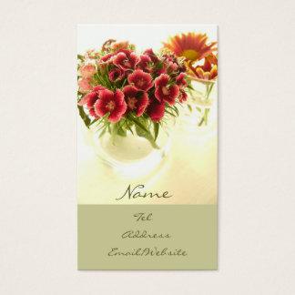 Blumen im Café Visitenkarte