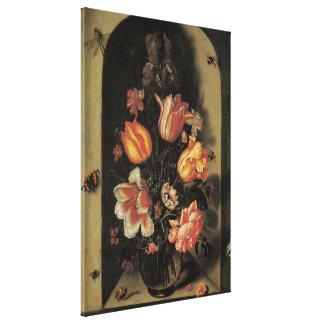 Blumen im Vase, Vintages barockes Blumennoch Leben Leinwanddruck