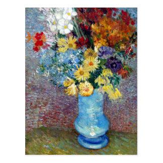Blumen in einem blauen Vase durch Vincent van Gogh Postkarte