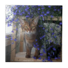 Blumen-Katze Keramikfliese