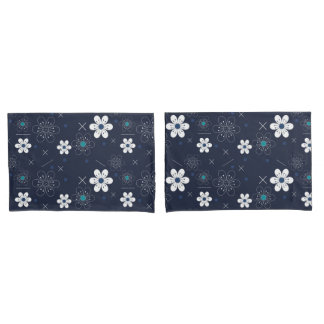 Blumen-Kissen-Hüllen des Trendy Retro blauen Aqua Kissenbezug