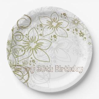 Blumen-Lilien-Grün-alles- Gute zum Pappteller