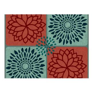 Blumen-Linie Kunst-rotes Blau-Farbe blockiert Postkarte