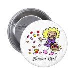 Blumen-Mädchen, das Identifikations-Knopf Wedding  Buttons