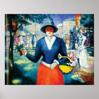 Blumen-Mädchen durch Kazimir Malevich Poster