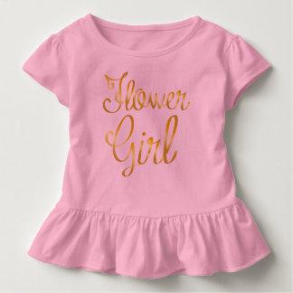 Blumen-Mädchen-Goldrüsche-Rosa-T-Stück Kleinkind T-shirt