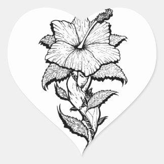 Blumen-Mädchen Herz-Aufkleber