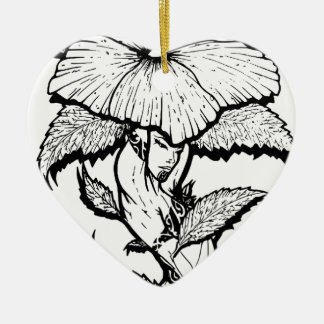 Blumen-Mädchen Keramik Herz-Ornament
