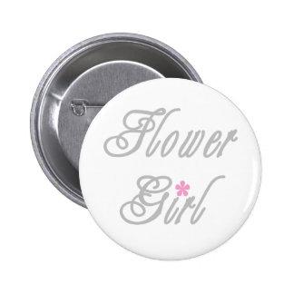 Blumen-Mädchen-noble Grau Runder Button 5,1 Cm