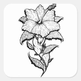 Blumen-Mädchen Quadratischer Aufkleber
