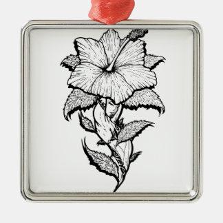 Blumen-Mädchen Quadratisches Silberfarbenes Ornament