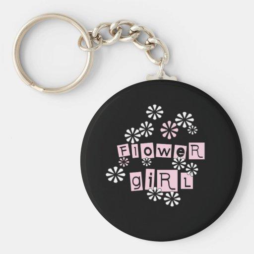 Blumen-Mädchen-Weiß auf Schwarzem Schlüsselanhänger