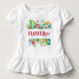 Blumen-Mädchenwatercolor-tropische Strand-Hochzeit Kleinkind T-shirt