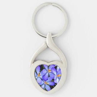 Blumen-Metall Keychain Silberfarbener Herz Schlüsselanhänger