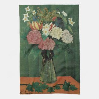 Blumen mit Efeu durch Henri Rousseau, Vintages Geschirrtuch