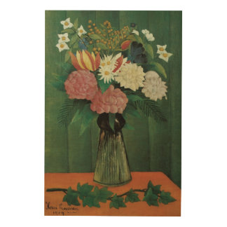 Blumen mit Efeu durch Henri Rousseau, Vintages Holzdruck