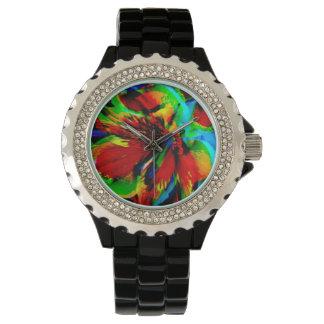 Blumen mit Farbtritt 1 Armbanduhr