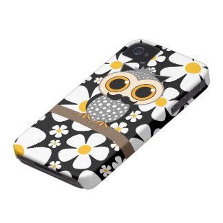 Blumen mit Schnurrbarteule iPhone 4 Case-Mate Hüllen