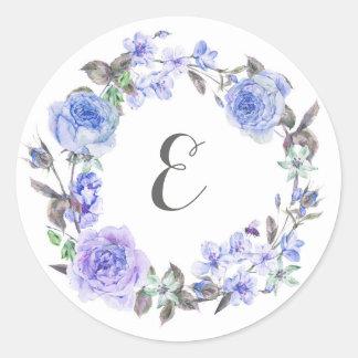 Blumen| Monogramm des lila Pastellwatercolor- Runder Aufkleber