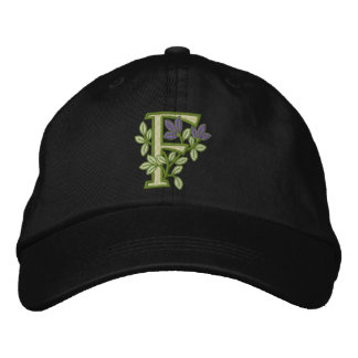Blumen-Monogramm-Initiale F Baseballmütze