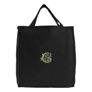 Blumen-Monogramm-Initiale G Bestickte Tasche