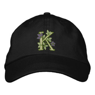 Blumen-Monogramm-Initiale K Bestickte Mütze