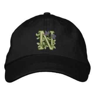Blumen-Monogramm-Initiale N Bestickte Baseballcaps