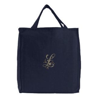 Blumen-Monogramm L Taschen-Tasche Bestickte Tragetasche