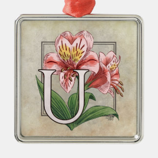 Blumen-Monogramm Ulsters Mary Silbernes Ornament