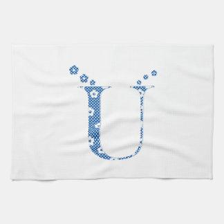 Blumen-Muster-Buchstabe U (blau) Küchentuch