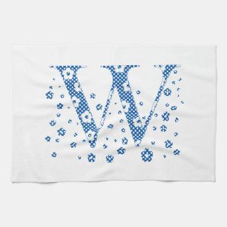 Blumen-Muster-Buchstabe W (blau) Geschirrtuch