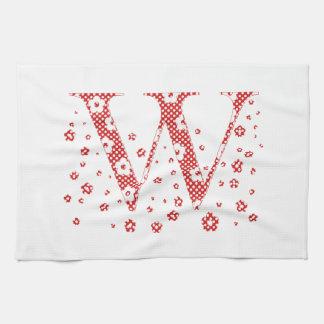 Blumen-Muster-Buchstabe W (rot) Küchentuch