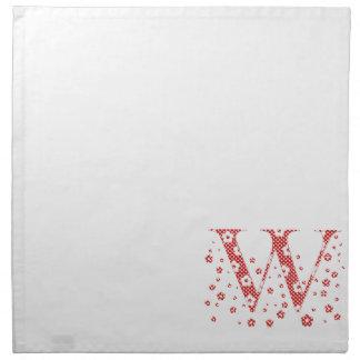 Blumen-Muster-Buchstabe W (rot) Stoffserviette
