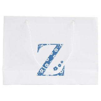 Blumen-Muster-Buchstabe Z (blau) Große Geschenktüte