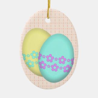 Blumen-Osterei-Duo Ovales Keramik Ornament