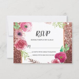 Flowers Plum Glitter RSVP