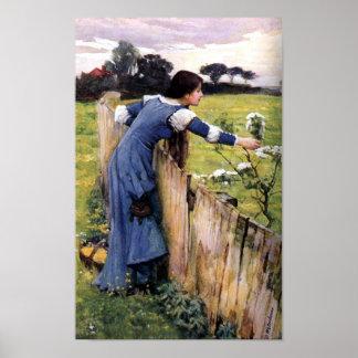 Blumen-Picker durch Johnwaterhouse-Druck Plakat