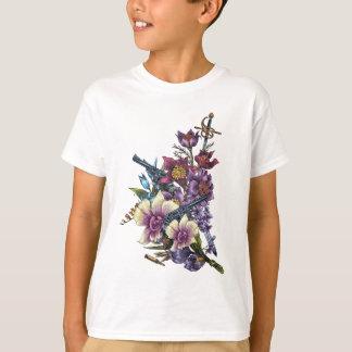 Blumen-Pistolen-Gewehr-Entwurf T-Shirt